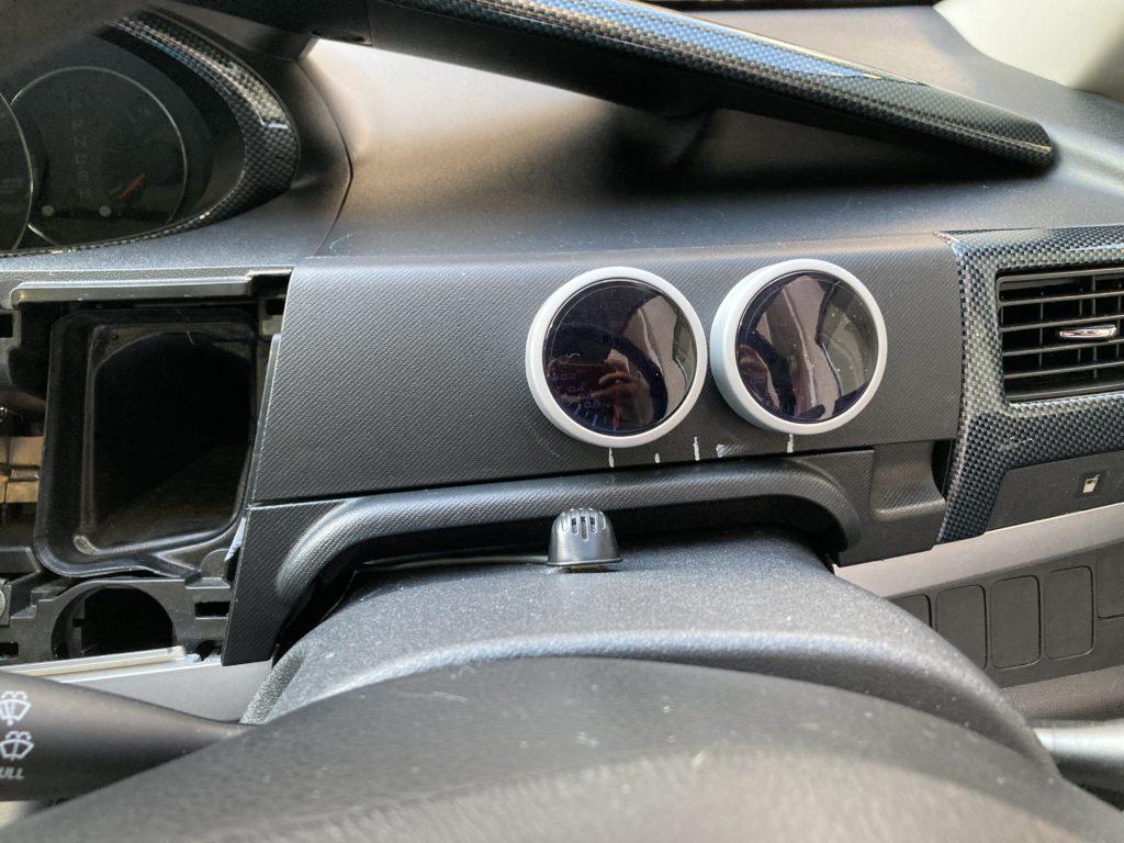 L175S ダイハツ ムーヴ カスタムRSターボ オートゲージ(AUTOGAUGE) SM 52Φ アナデジ アナログ デジタル デュアルシリーズ ブースト計、水温計取り付け